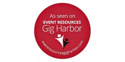 Event Resources Gig Harbor Circle Logo red with People logo and website address for planning an event in the Gig Harbor