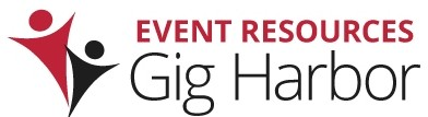 Welcome to Event Resources Gig Harbor Website with the branding od happy people at an event