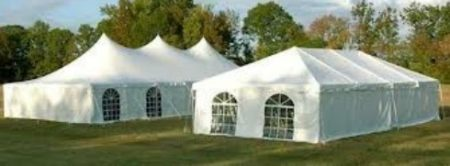 Event Tents large with poles and framed with windows displayed for a wedding or special event