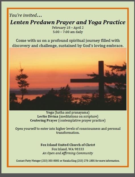 Fox Island United Church Of Christ Early Morning Yoga Prayer Invite