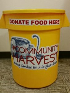 Yellow tub, Community Harvest, Gig Harbor Food Drive