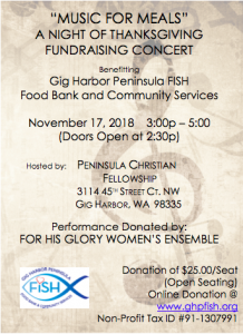 Music for Meals: A Night of Thanksgiving @ Peninsula Christian Fellowship | Gig Harbor | Washington | United States