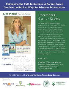 """Reimagine the Path to Success"" with Lisa Mitzel, a Parent-Coach Seminar @ Charles Wright Academy 