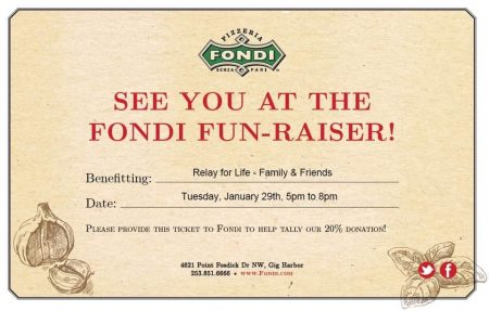 Relay For Life Take-Over for Fondi's- Team Family and Friends @ Fondi's Pizzeria | Gig Harbor | Washington | United States