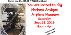 Gig Harbor Events, Antique Airplane Museum, Weddings, Venue, Antique, Event, Open House, rides, Blackbird, 1928, Tours