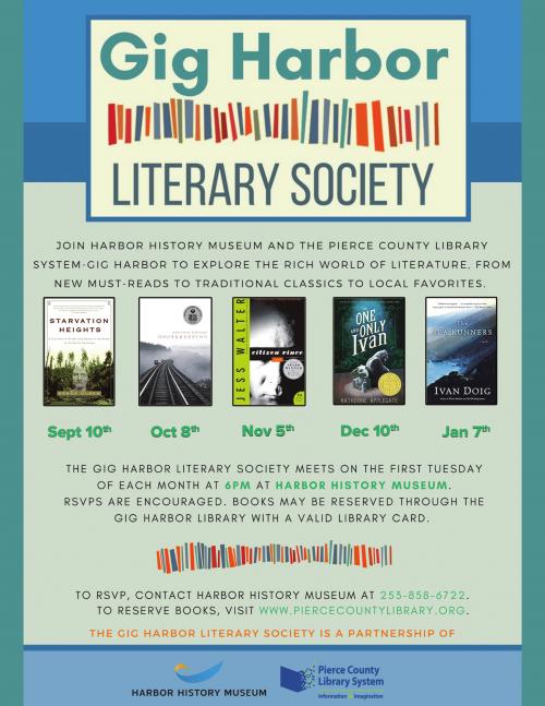 Gig Harbor Events, Books, Book cub, Harbor History museum, Literary Society,